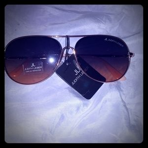 NWT Judith Leiber Rose Gold Aviator  Sunglasses